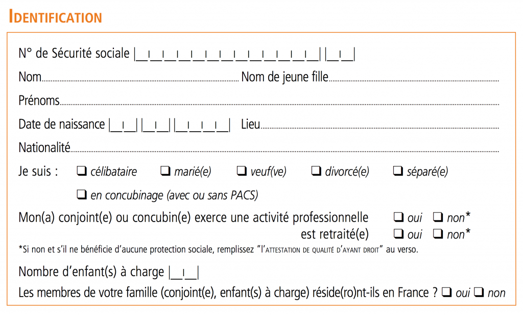 Bulletin d'adhésion CFE - 01 Identification