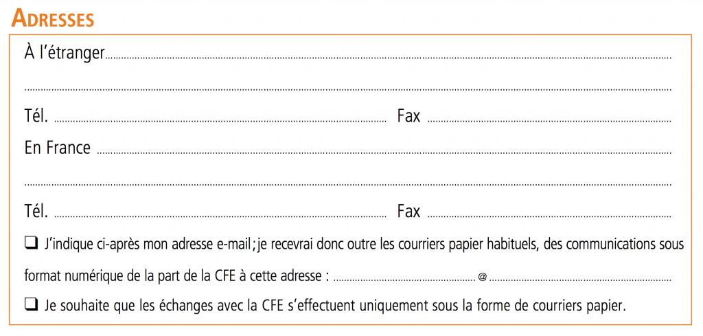 Bulletin d'adhésion CFE - 02 Adresses