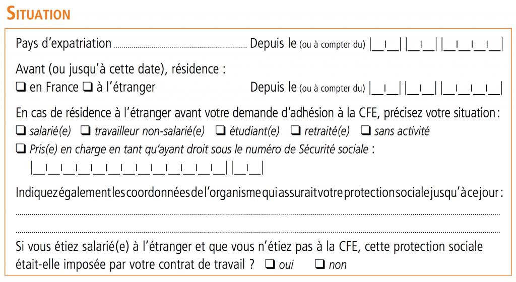 Bulletin d'adhésion CFE - 03 Situation