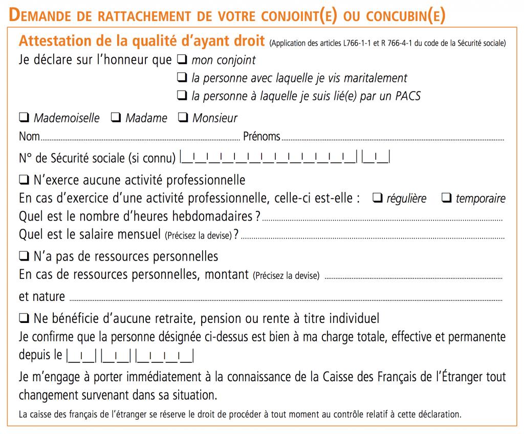 Bulletin d'adhésion CFE - 04 Ayant-droit