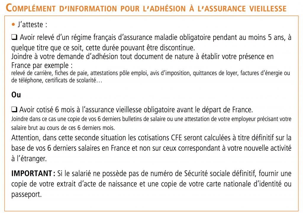 Bulletin d'adhésion CFE - 06 Complément Vieillesse