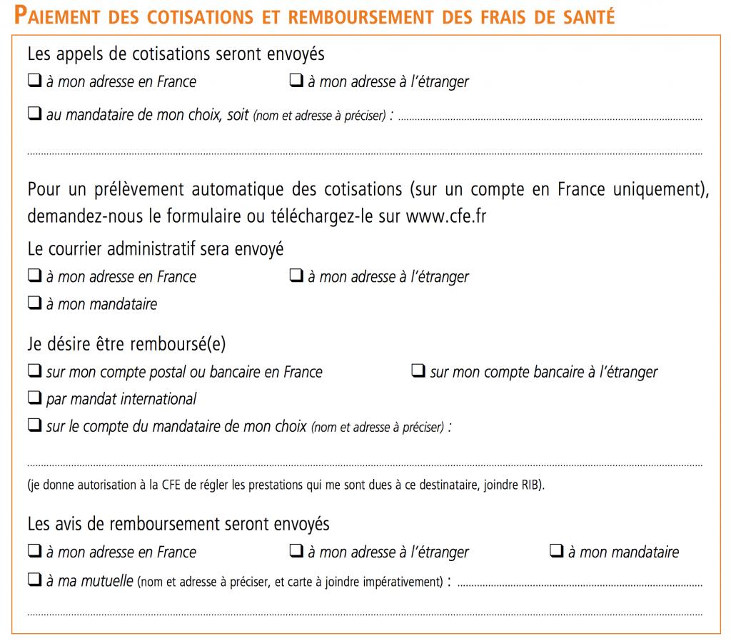 Bulletin d'adhésion CFE - 08 Paiement
