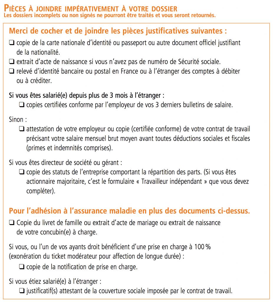 Bulletin d'adhésion CFE - 09 Pièces à joindre